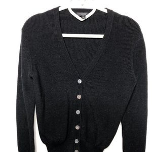J.Crew Black Ribbed Cardigan 100% Cotton XS